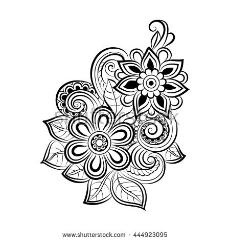 ornament coloring page - doodle art flowers zentangle floral pattern