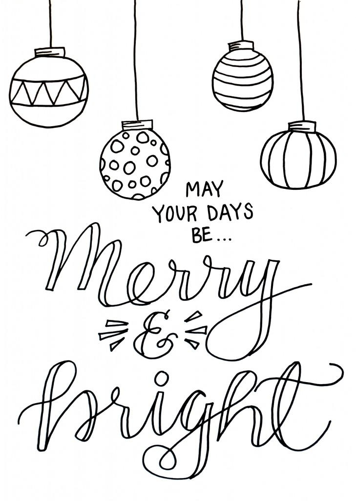 ornament coloring page - Merry and Bright Christmas Coloring Page