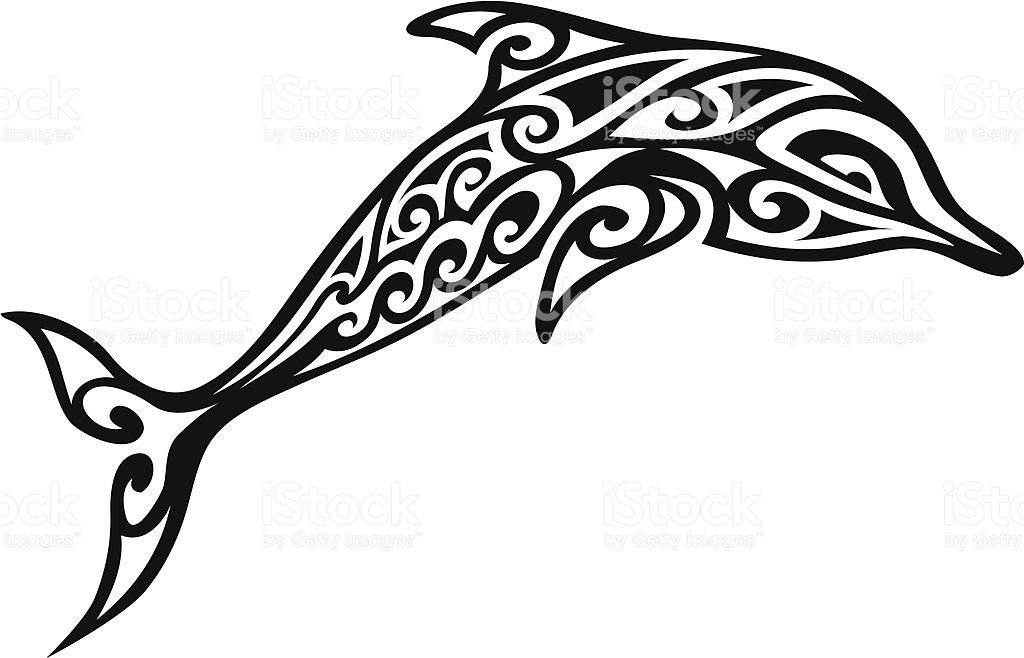ornament coloring page - tribal dolphin gm