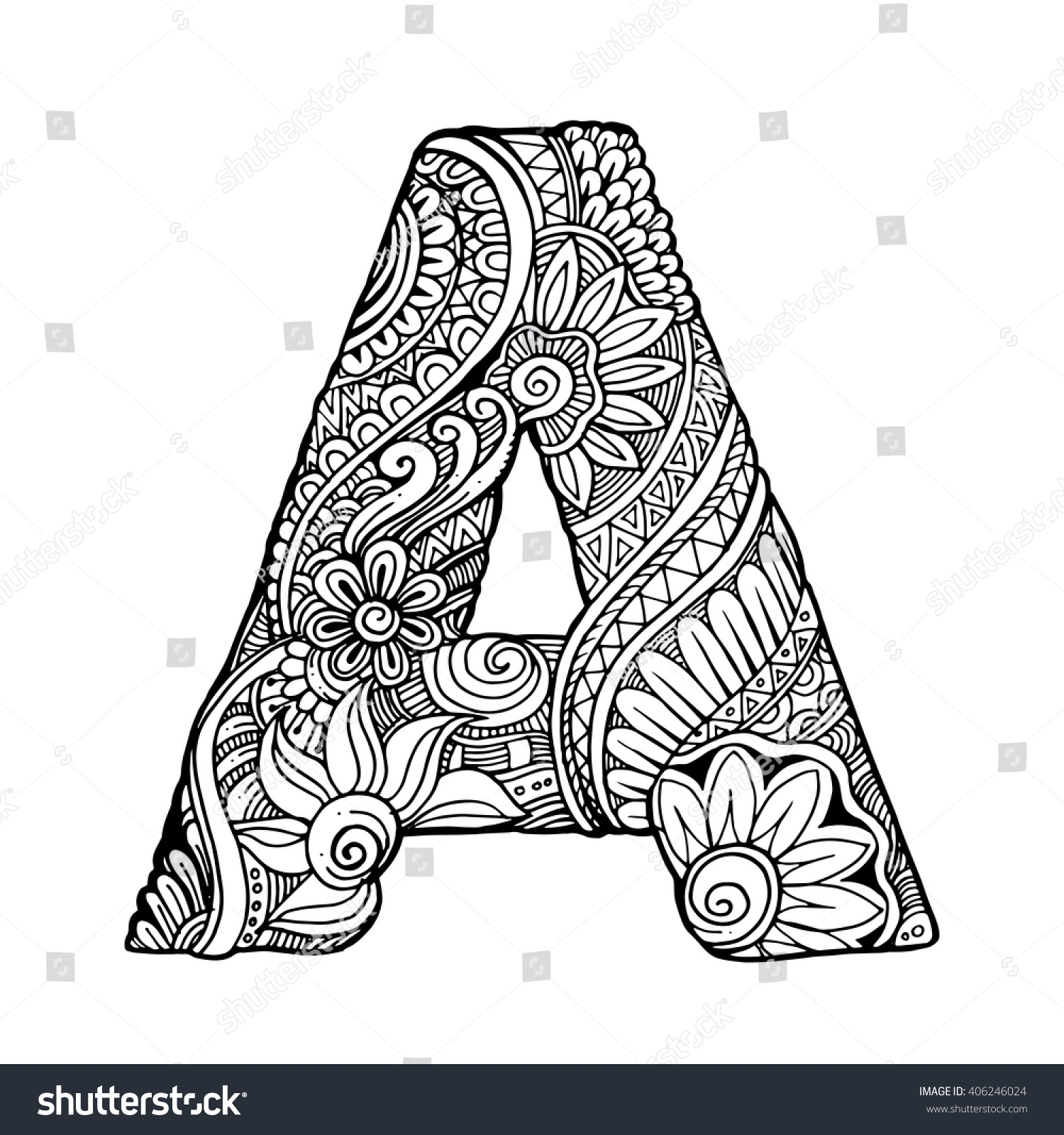 ornament coloring page - stock vector zentangle stylized alphabet letter a vector illustration black white hand drawn doodle ethnic