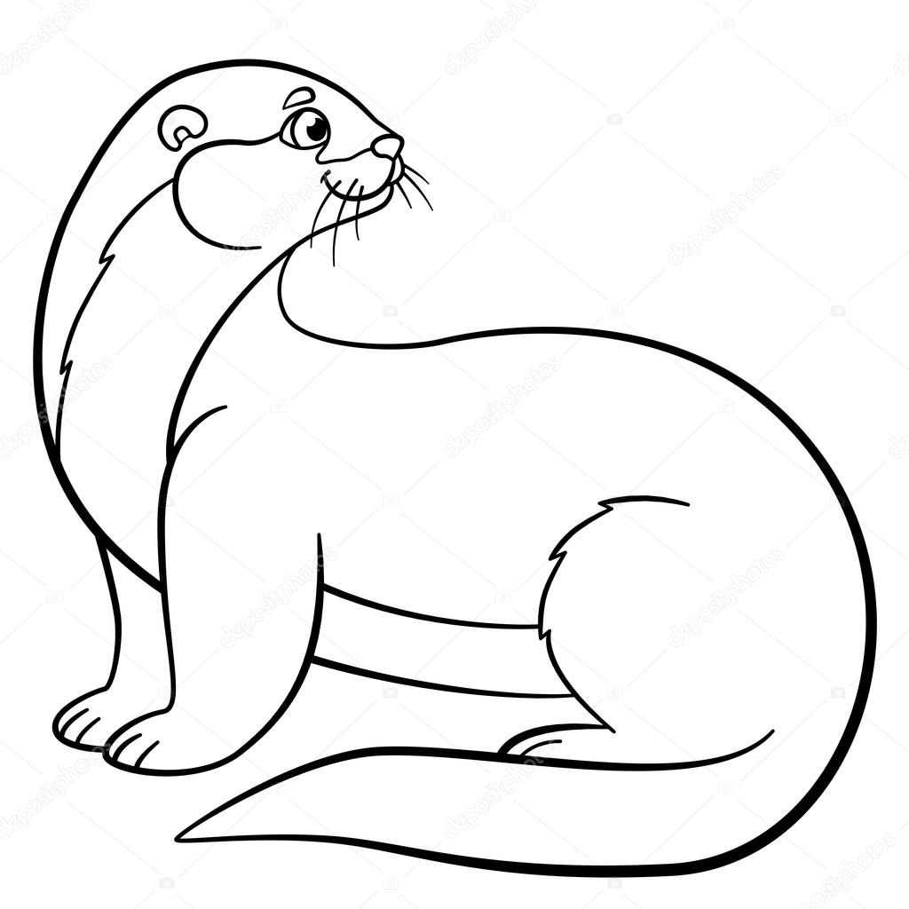 otter coloring pages - stock illustration coloring pages little cute otter