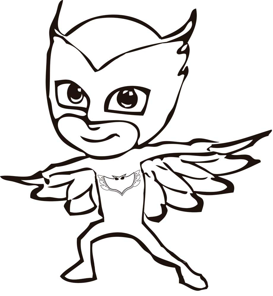 owlette coloring page - owlette pj masks coloring sketch templates