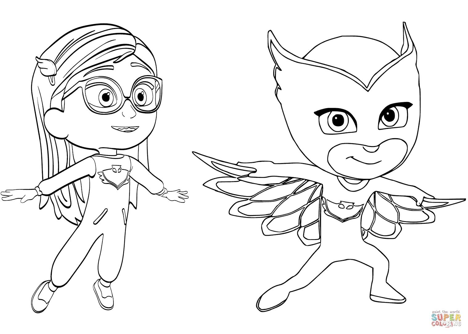 owlette coloring page - pajama hero amaya is owlette from pj masks