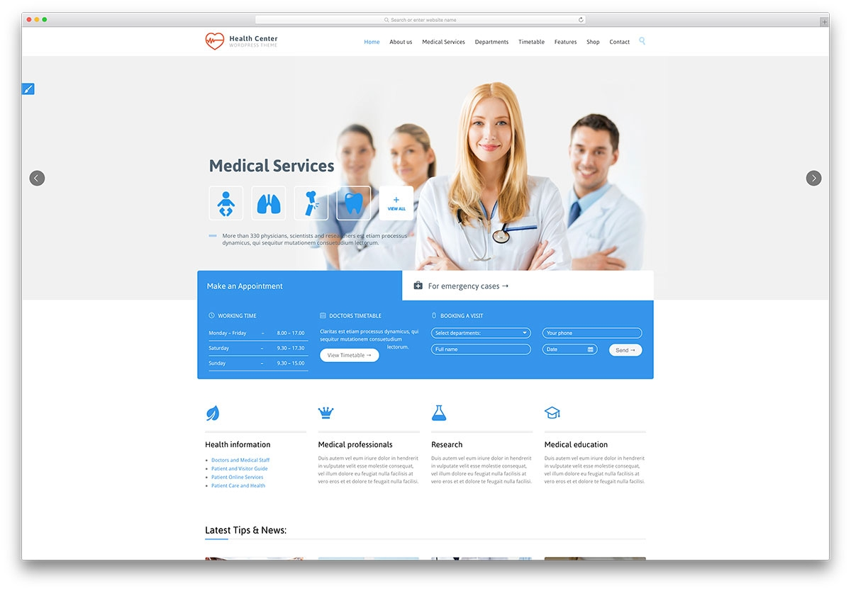 pages background color - health medical themes
