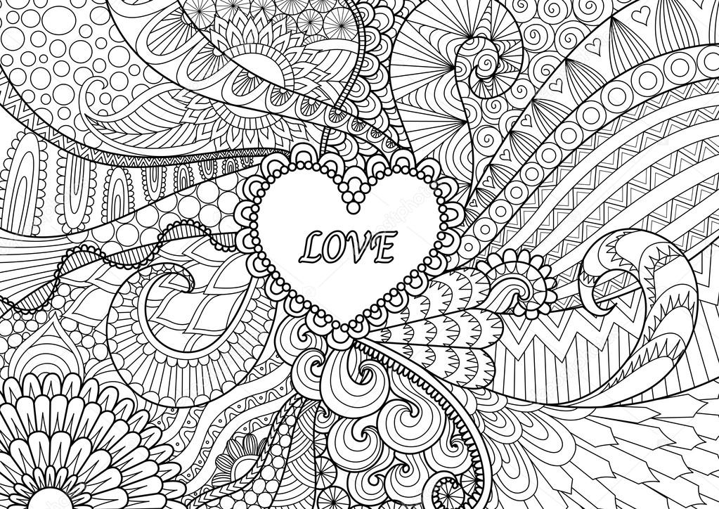 paisley coloring pages - stock illustration heart on flowers for coloring