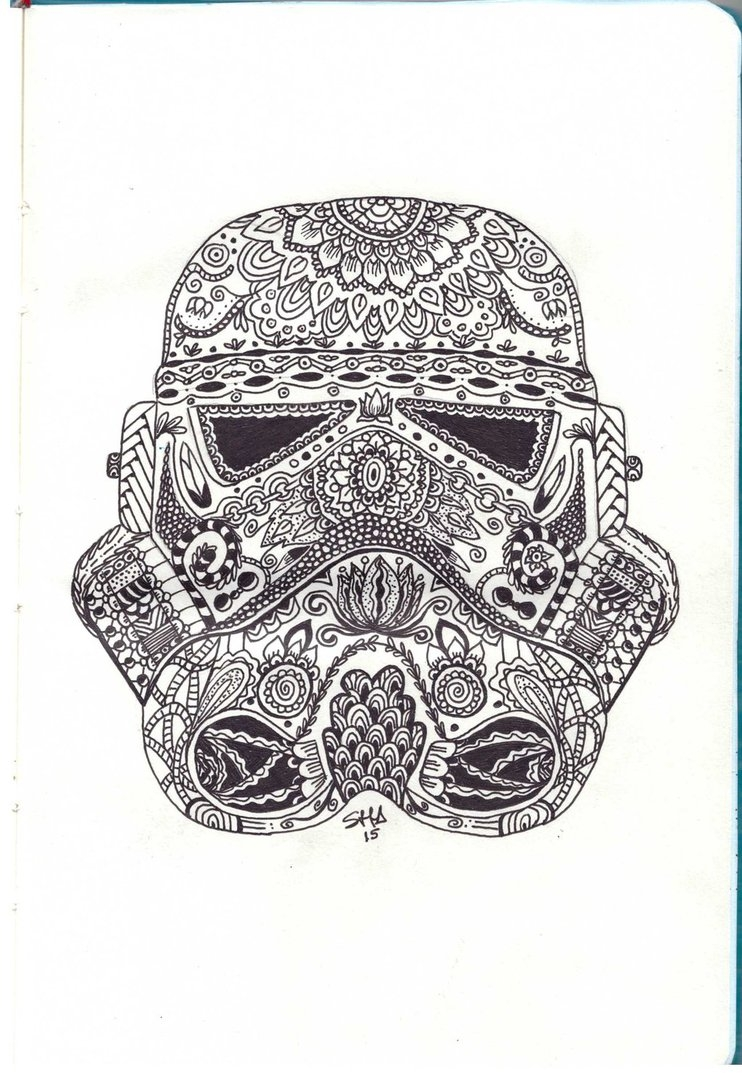 paisley coloring pages - Stormtroopers helmet zentangle