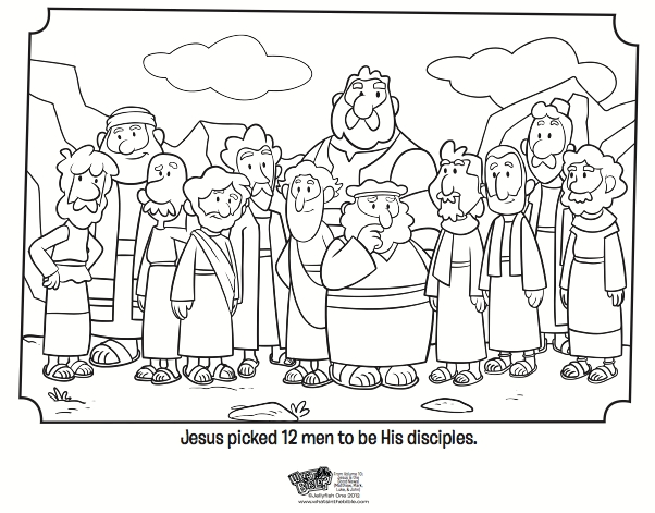 palm sunday coloring page - 12 disciples
