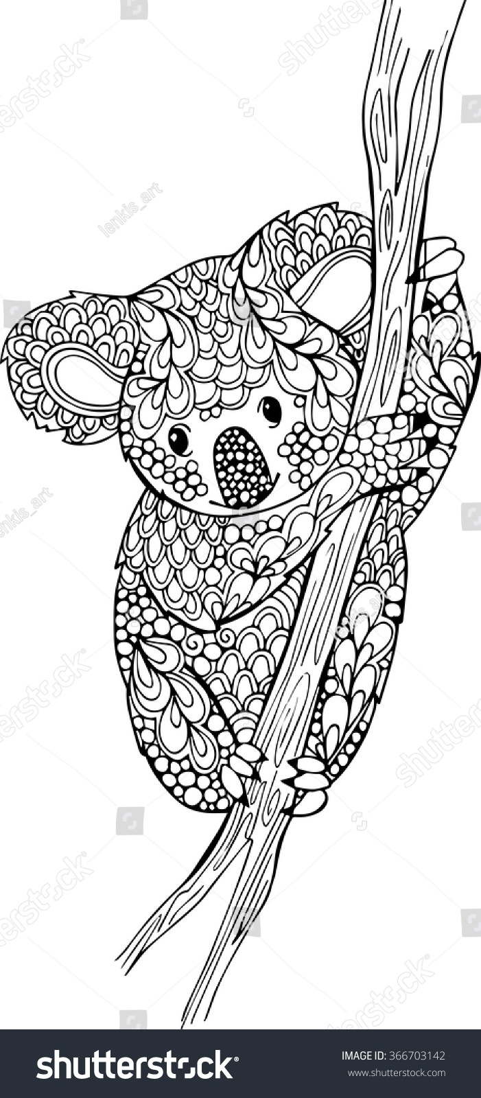 palm tree coloring pages - stock vector hand drawn doodle koala illustration outline monochrome vector koala bear drawing