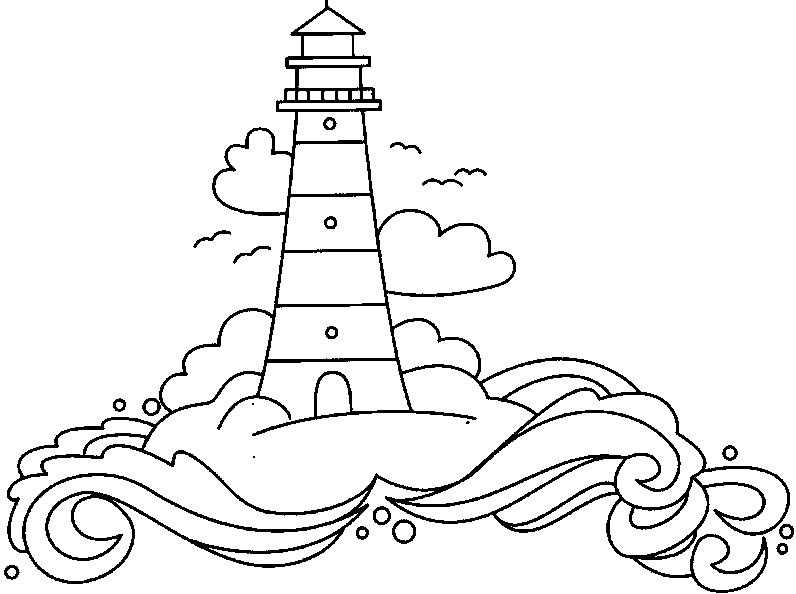 palm tree coloring pages - printable lighthouse coloring pages