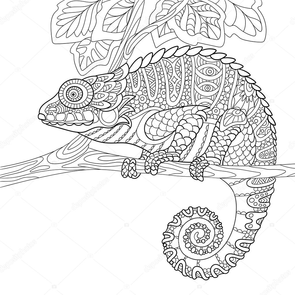 panther coloring pages - stock illustration zentangle stylized chameleon
