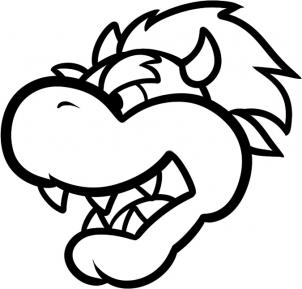 paper mario coloring pages - how to draw bowser easy