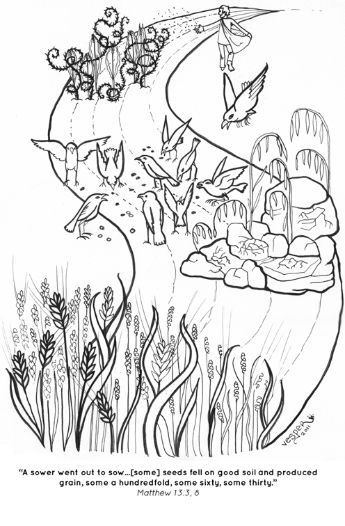 parable of the sower coloring page - sower coloring pages