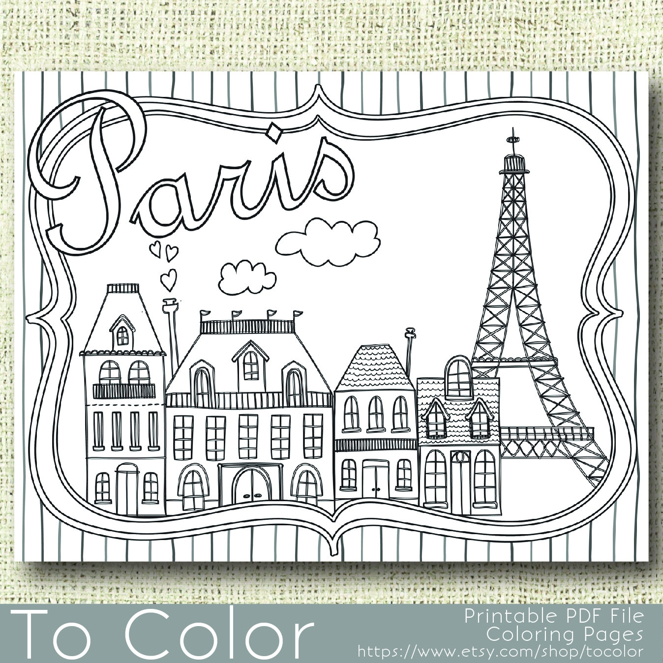 paris coloring pages - printable paris coloring page for adults