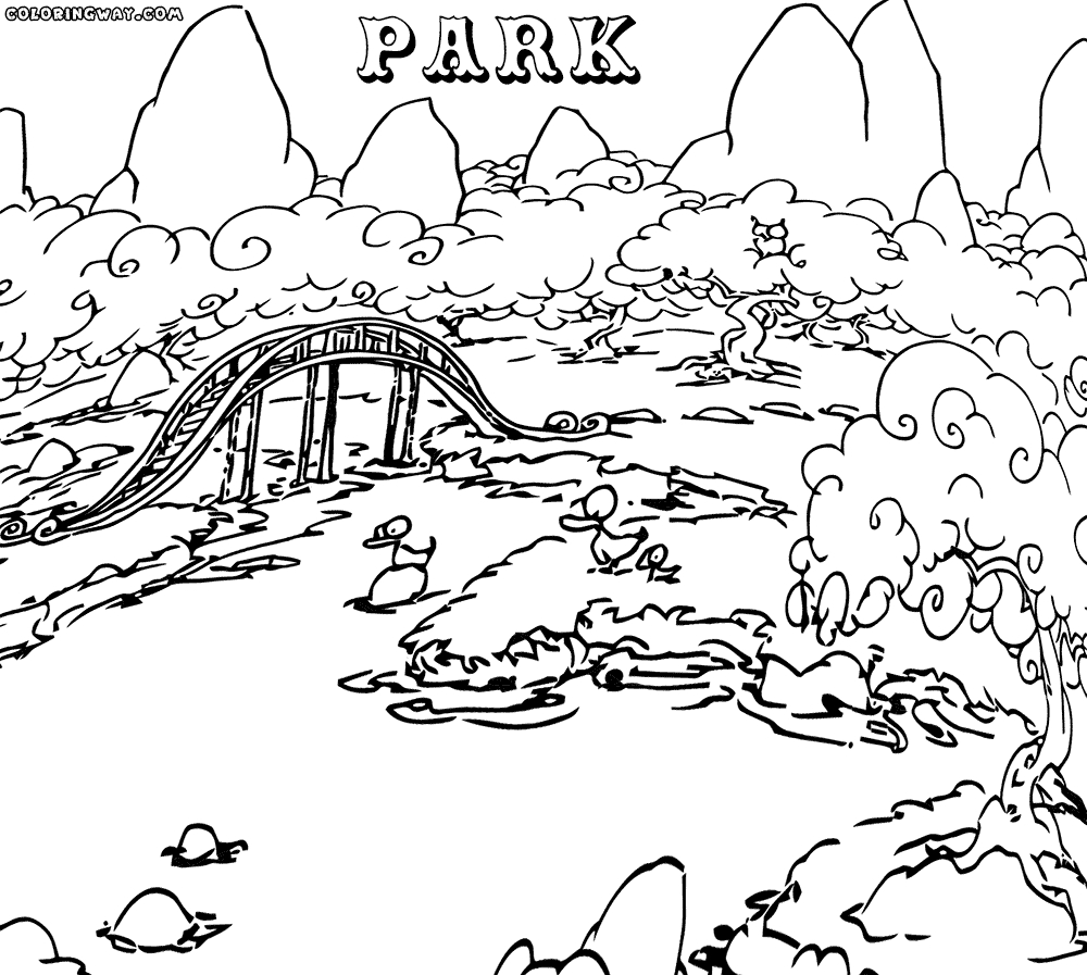 Park Coloring Pages - Park Scene Coloring Page Coloring Coloring Pages
