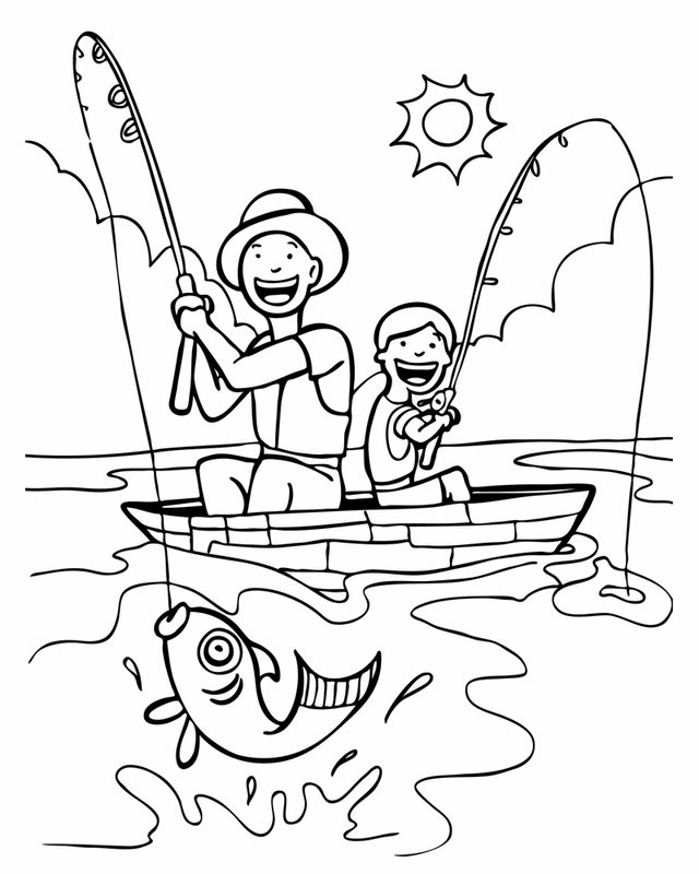 patrick coloring pages - father s day fishing