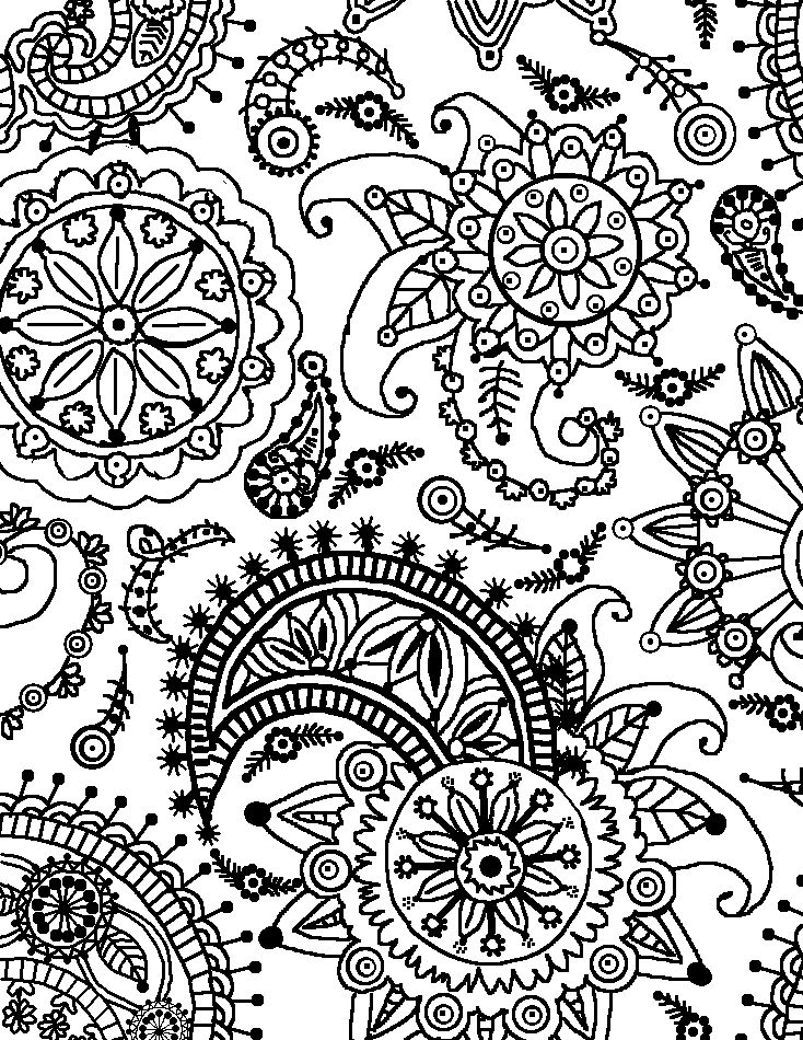 pattern coloring pages - paisely flower pattern portrait