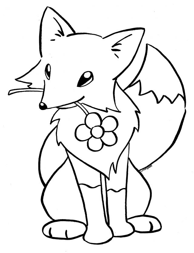 paw print coloring page - red fox coloring page