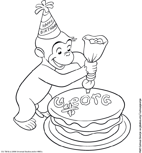 pbs coloring pages - curious george coloring page