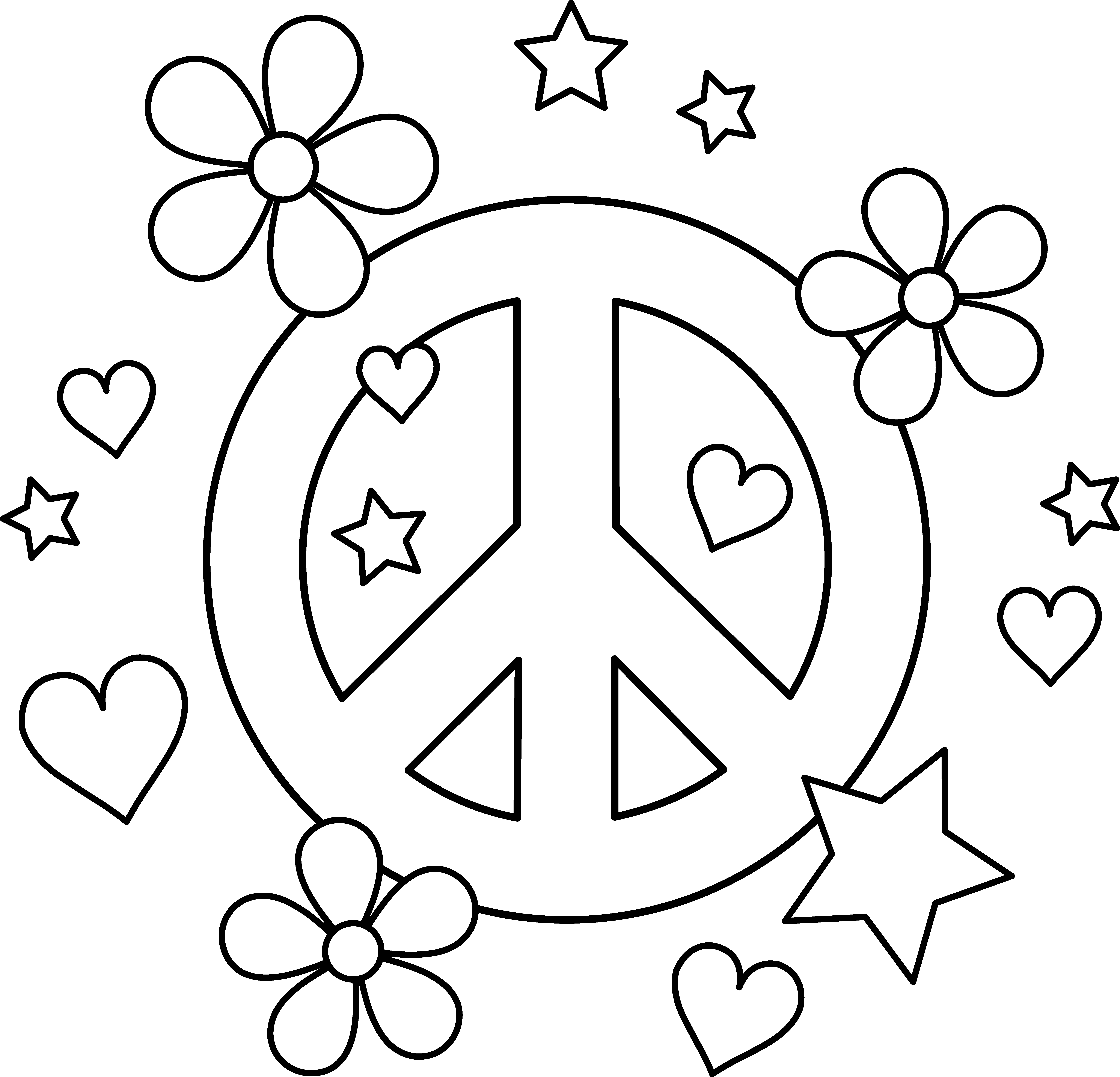 peace sign coloring pages - colorable peace sign design 1301