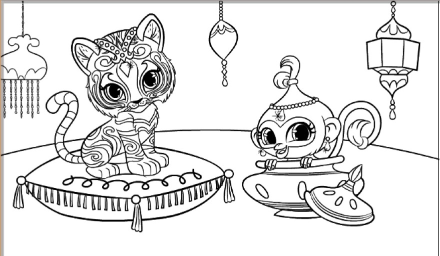 peacock coloring pages - shimmer and shine coloring pages