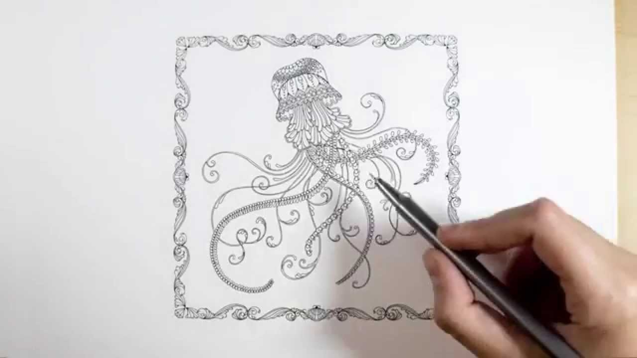 Penguin Coloring Pages - Lost Ocean by Johanna Basford Jellyfish