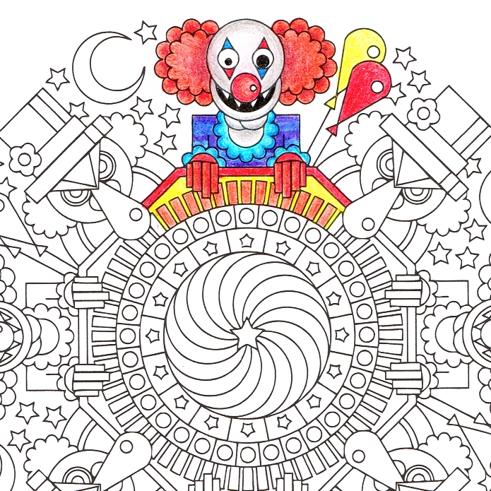 pennywise coloring pages - pennywise guys halloween mandala