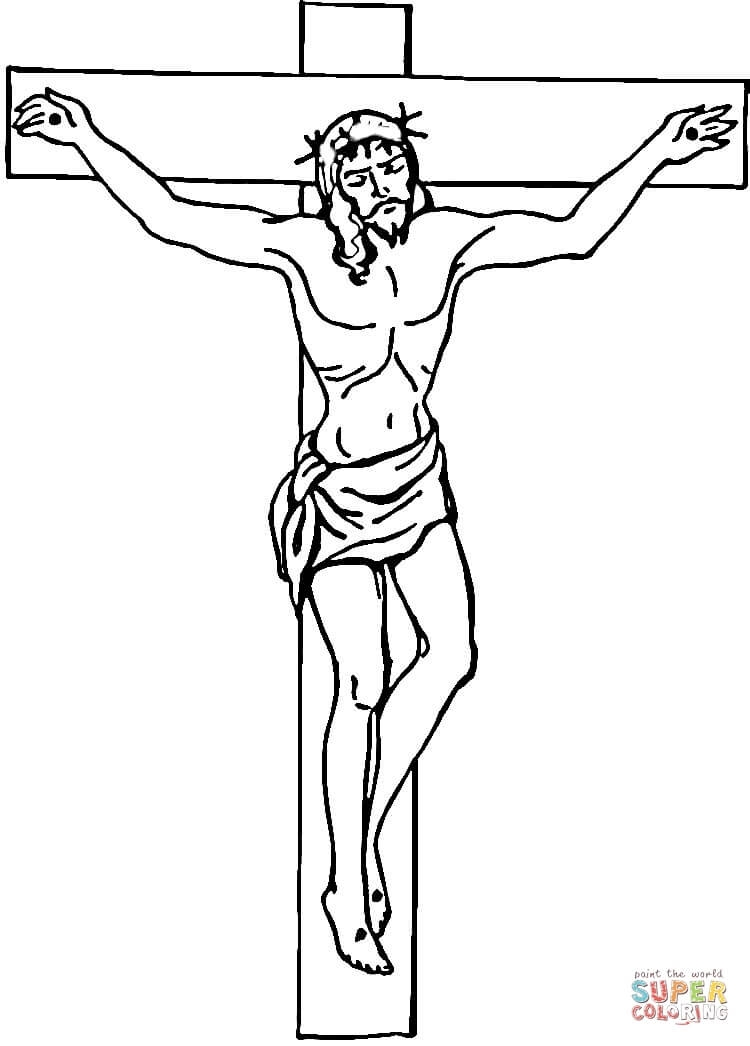 pentecost coloring page - jesus on the cross