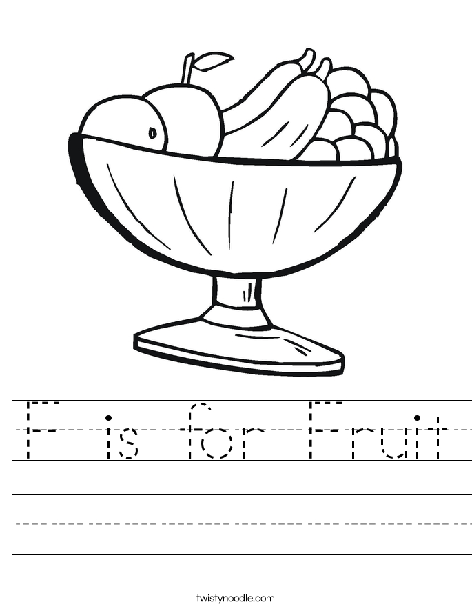 people coloring pages - f is for fruit worksheet