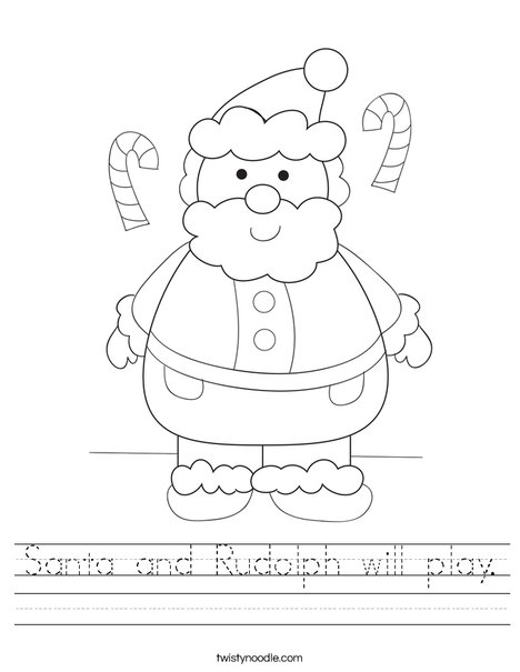 people coloring pages - santa and rudolph will play worksheet