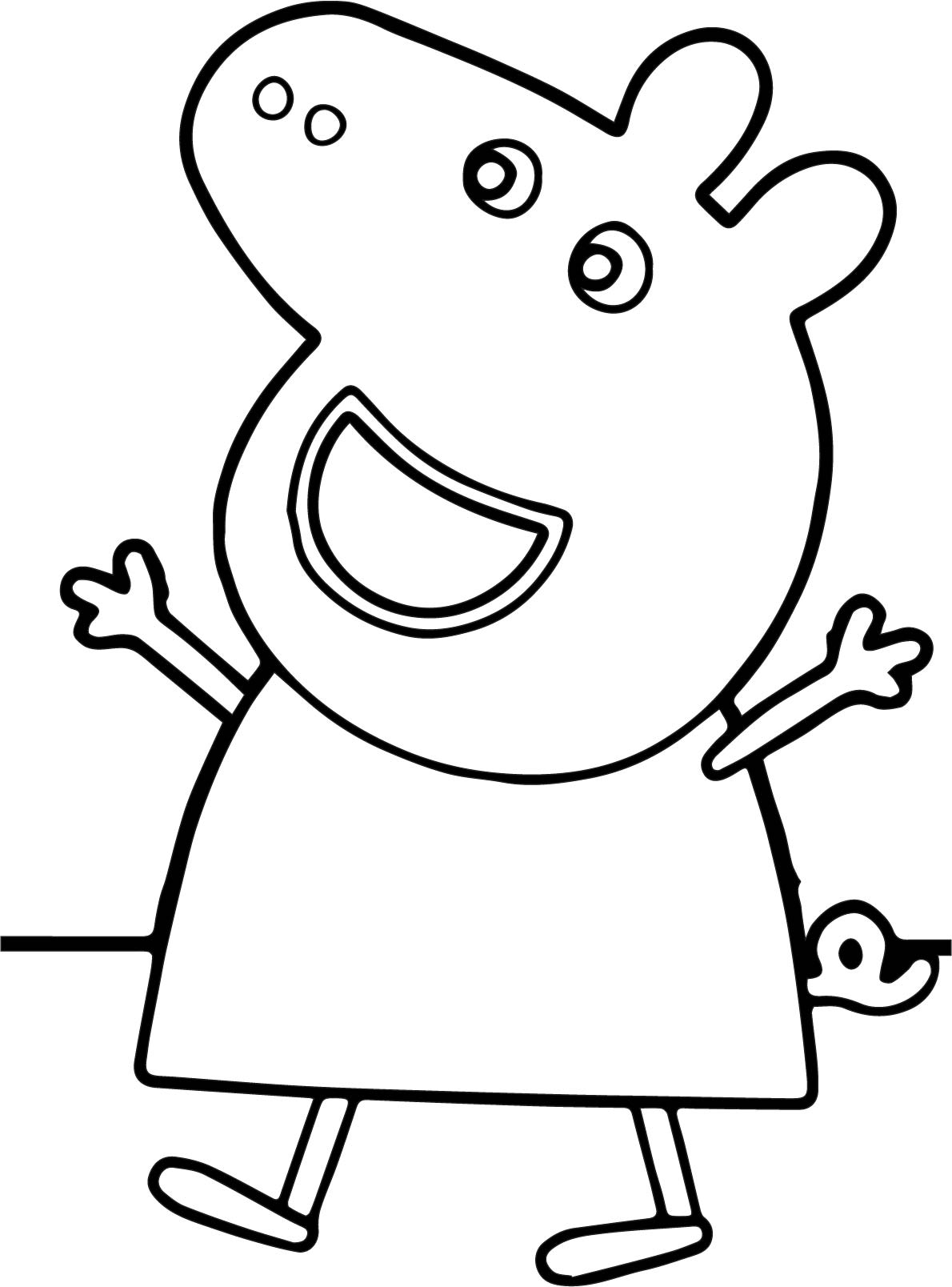 peppa coloring pages - peppa pig happy coloring page
