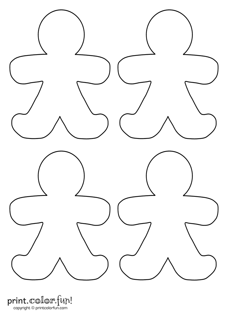 person coloring page - four blank gingerbread men