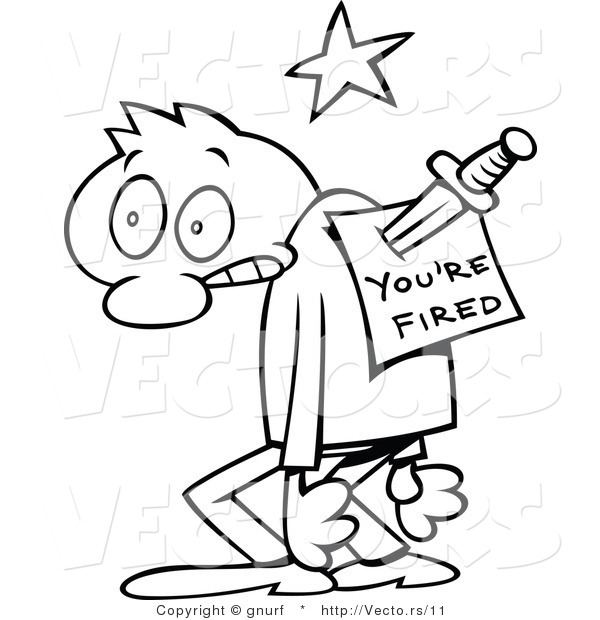 person coloring page - vector line drawing of a shocked cartoon guy with youre fired memo stabbed in his back by gnurf 11