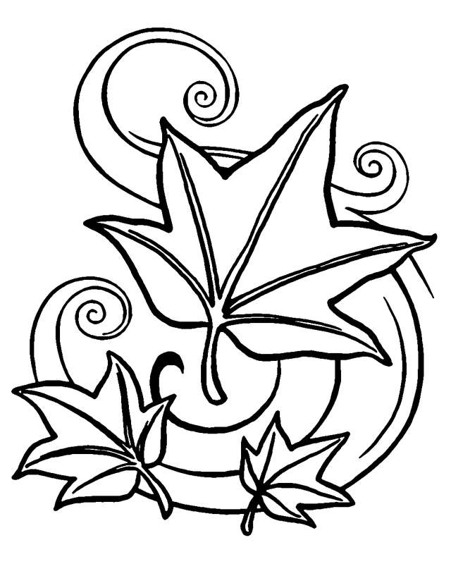 personalized coloring pages - autumn leaves coloring page