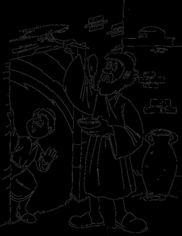 pesach coloring pages - passover marking door