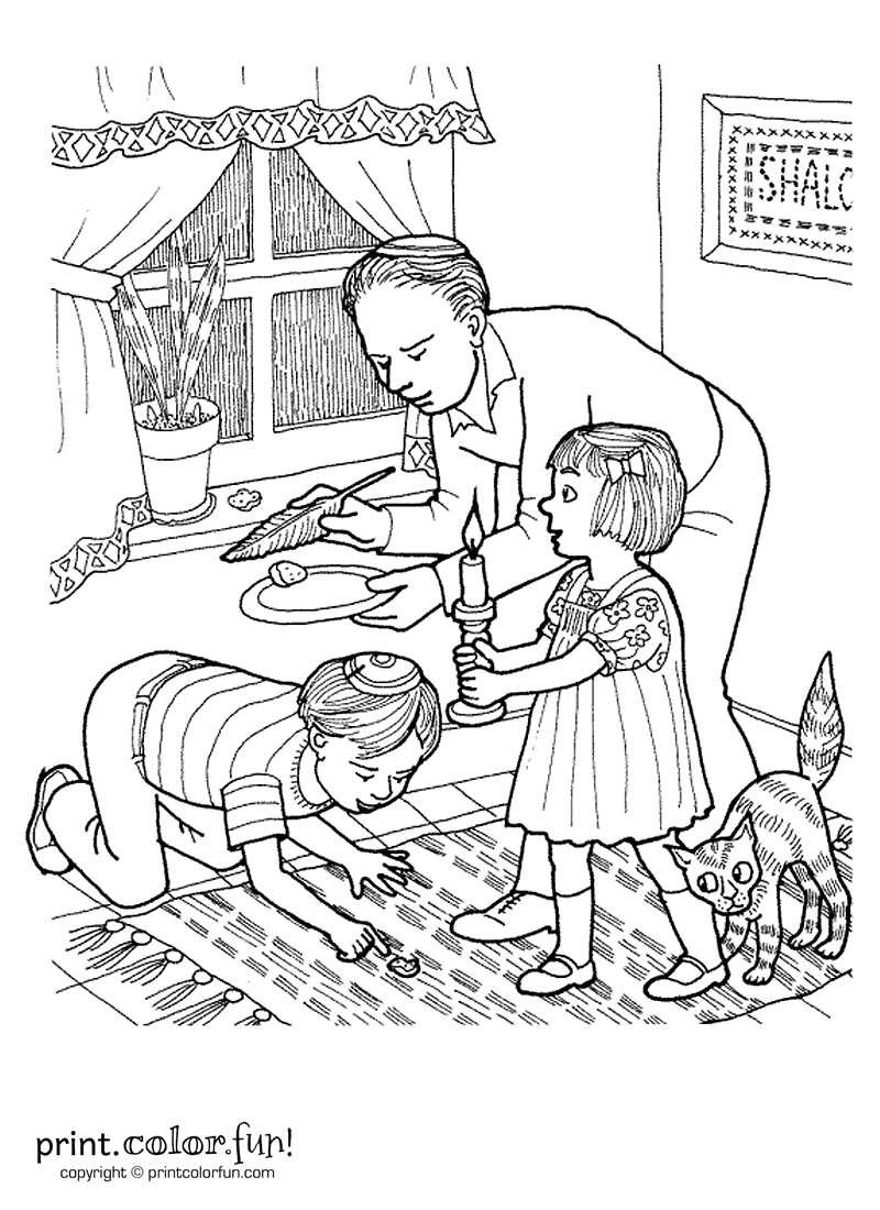 pesach coloring pages - passover search for chametz