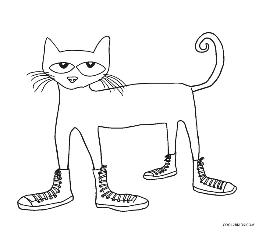 pete the cat coloring page - cat coloring pages