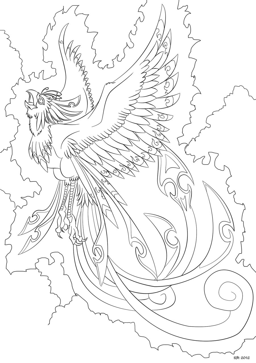 phoenix coloring page - Phoenix Coloring in Page 8