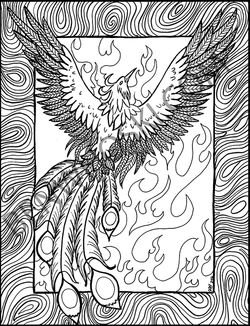 phoenix coloring page - phoenix rising coloring page