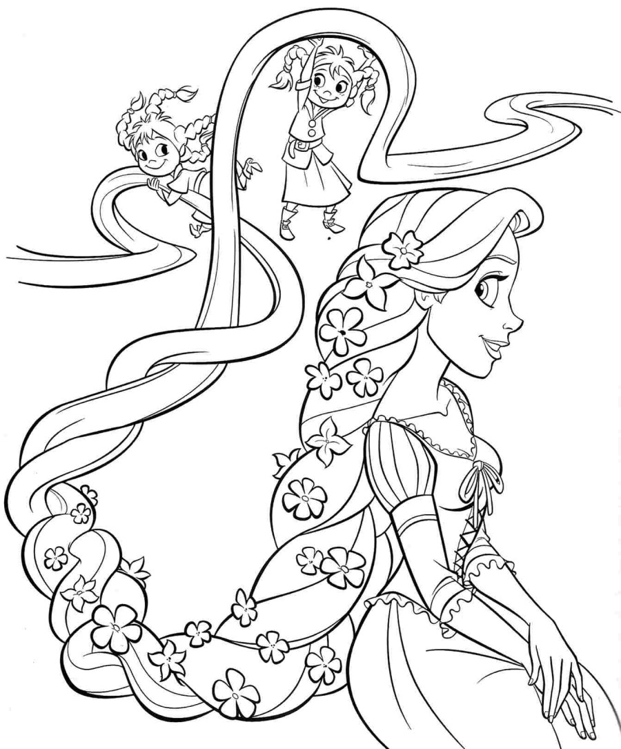 photo to coloring page - rapunzel coloring pages