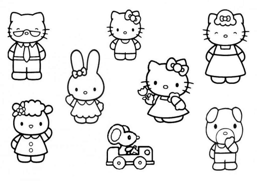 piano coloring pages - hello kitty and friends pictures