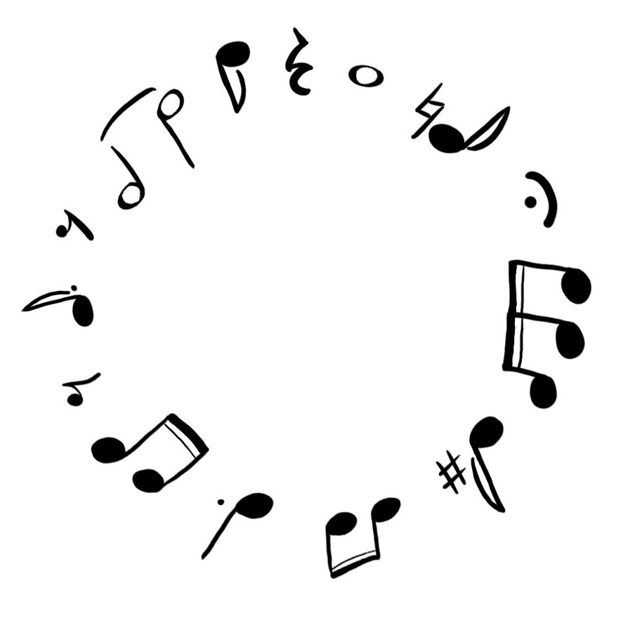 piano coloring pages - music notes in circle