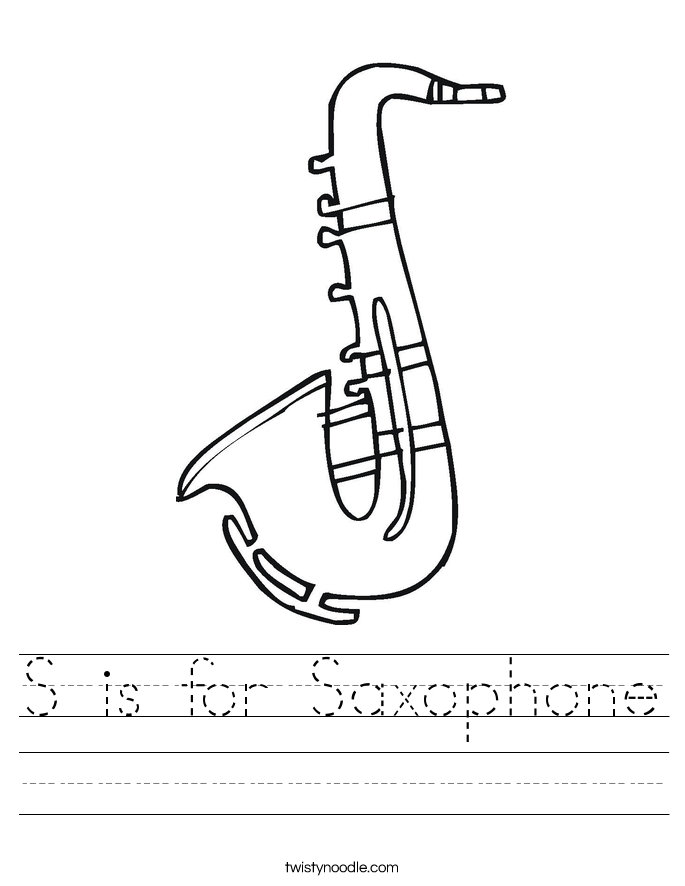 piano coloring pages - s is for saxophone 2 worksheet