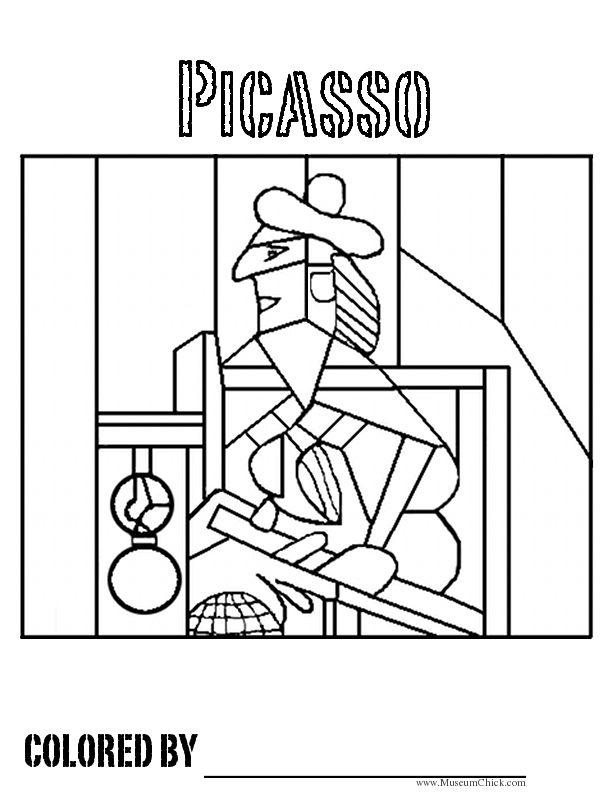 picasso coloring pages - picasso cubism coloring in page sketch templates