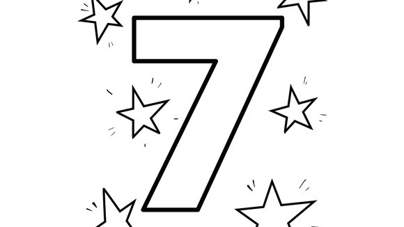 picnic coloring page - numbers seven