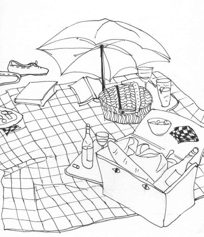 Picnic Coloring Page - Picnic Coloring Page Coloring Home