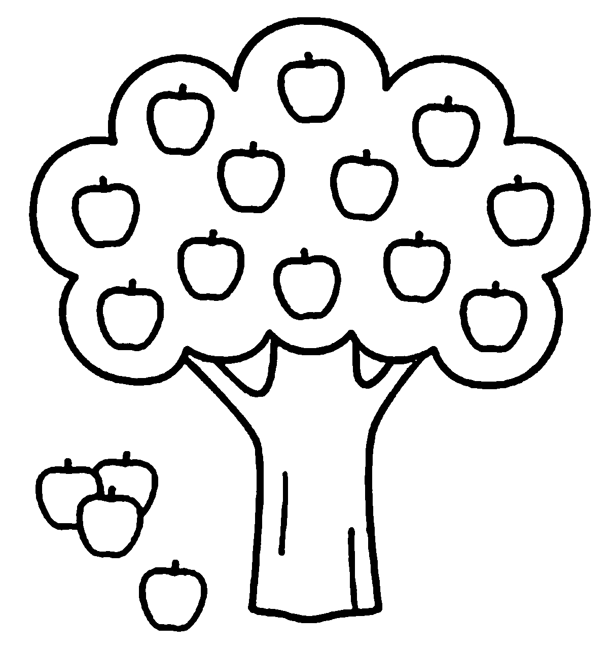 picture to coloring page - apple tree coloring pages