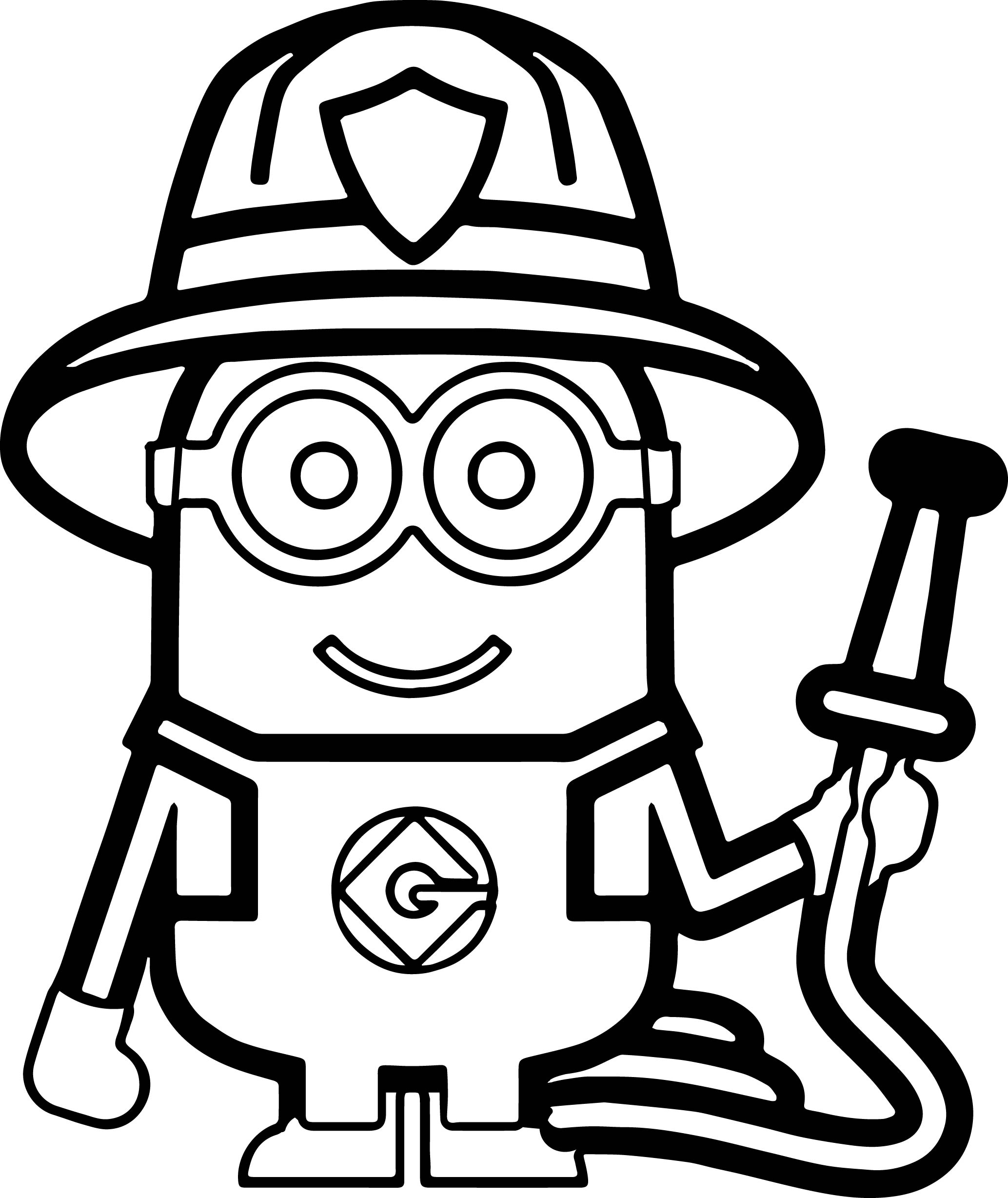 picture to coloring page - minions fireman coloring page