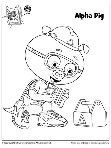 pig coloring pages - super why coloring book pages