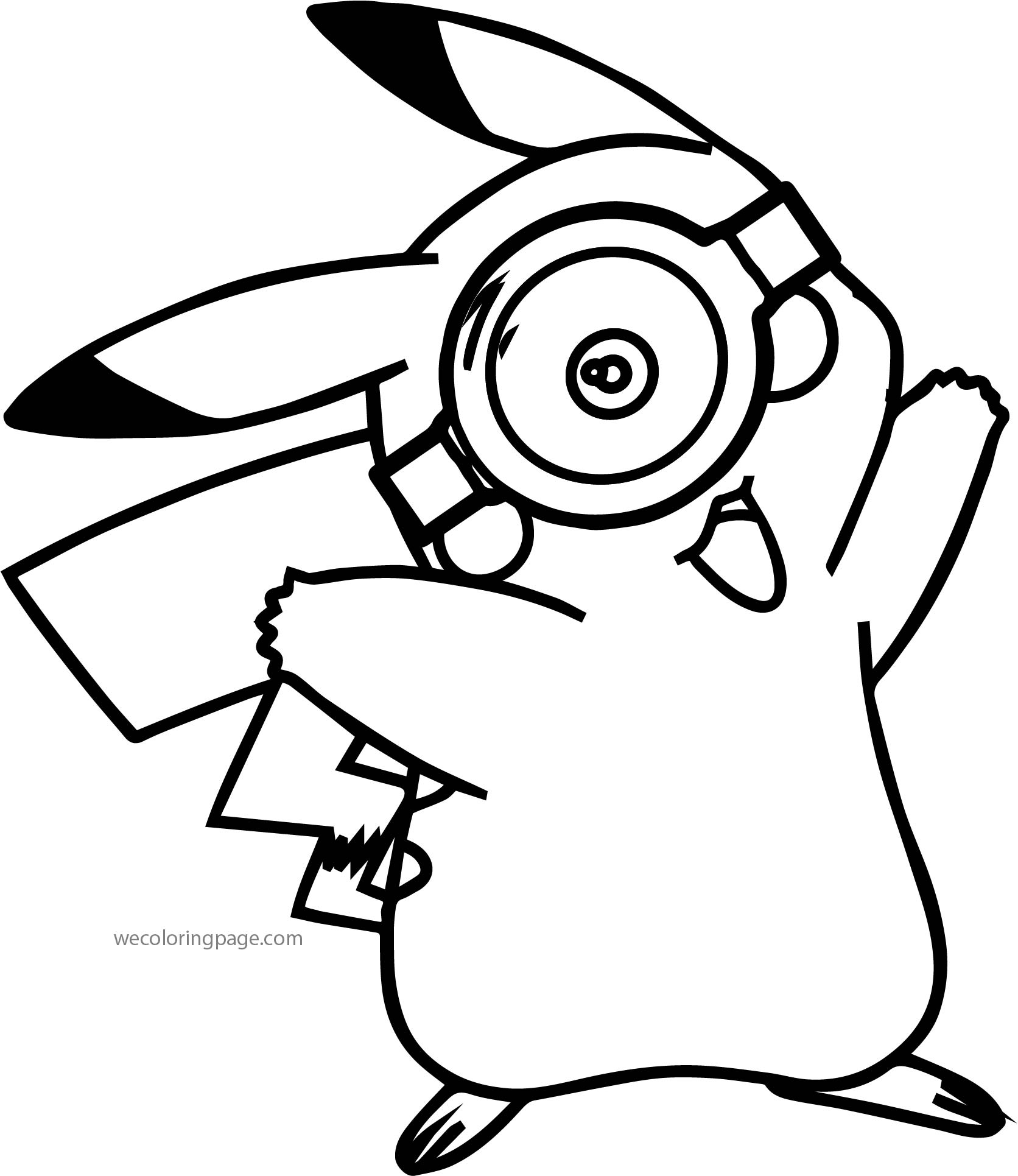 pikachu coloring pages - minion pikachu pokemon glass coloring page