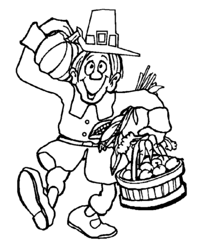 pilgrim coloring pages - Thanksgiving coloring 001